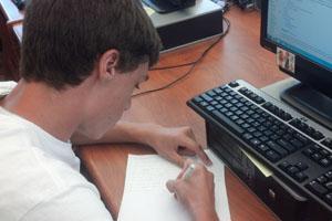 AP Euro student Collin Webber works on homework