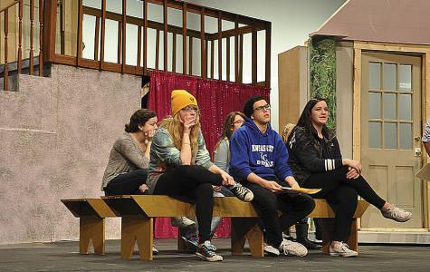 The cast of Legally Blonde is practicing scenes for opening night.