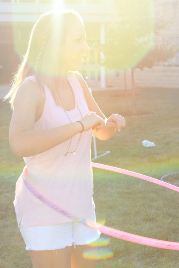 Sophomore Caroline Streb participates in the hoola hoop competition.