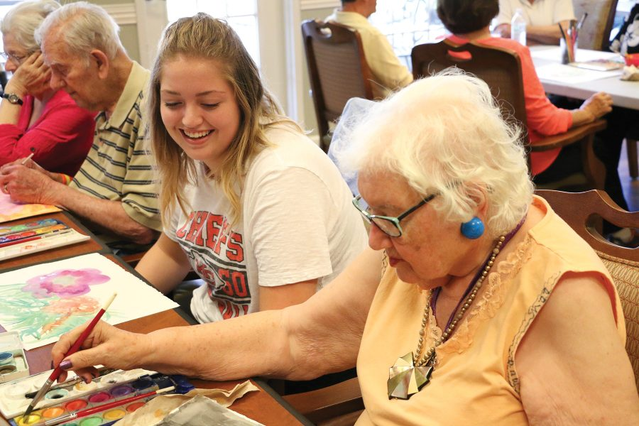 Senior Londyn Bogseth gets certified to teach people with Alzheimers to paint