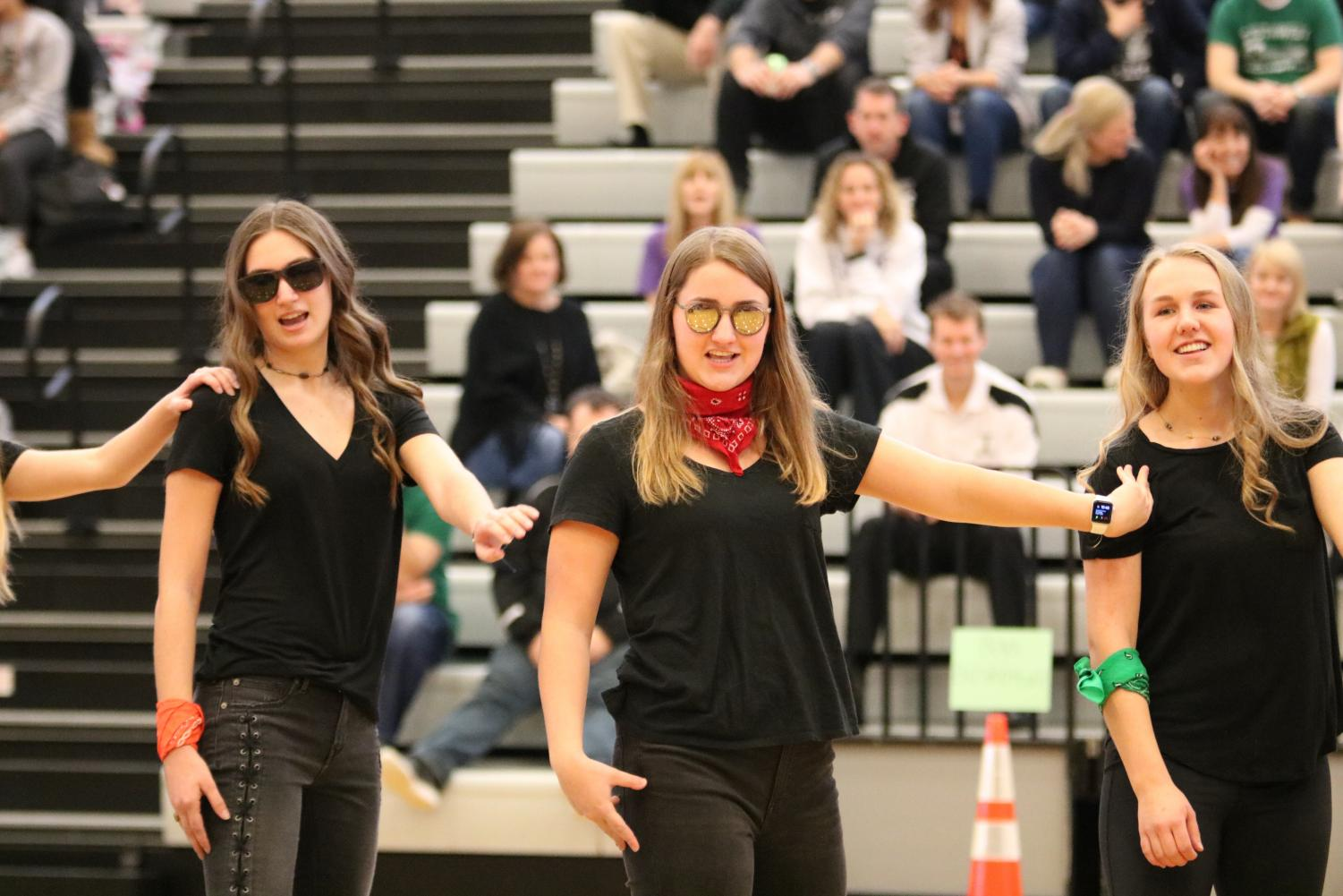 Senior Sadie Putnam and sophomore Emily Hope compete against the other winter sports teams in a dance off / lip-sync battle. They preformed their dance to Formation by Beyonce, taking inspiration from the music video.