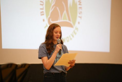 Senior Glenne Harvell speaks at the Mental Health Assembly on Nov. 22.
