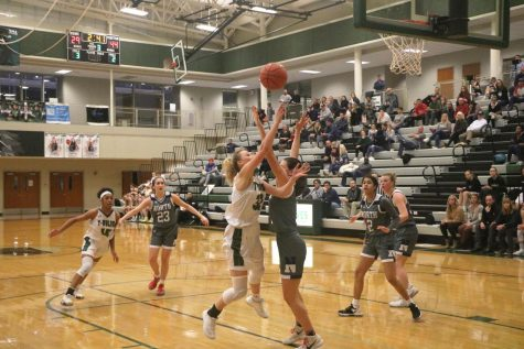 Senior Maddie Garretson reaches for the ball in an attempt to make a shot.