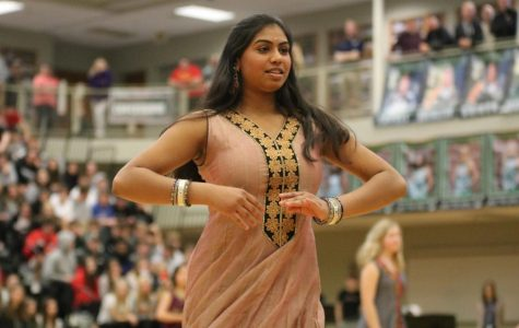 Senior Isha Patel poses during the bollywood dance at the Diversity assembly on Feb.24.