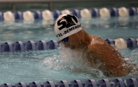Junior Yaseen El-Demerdash swims for the school team at a meet on Jan. 9.