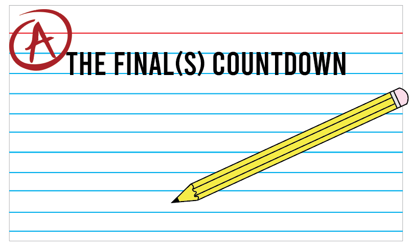 A graphic of a pencil and a note card depicts study tools used for final exams.