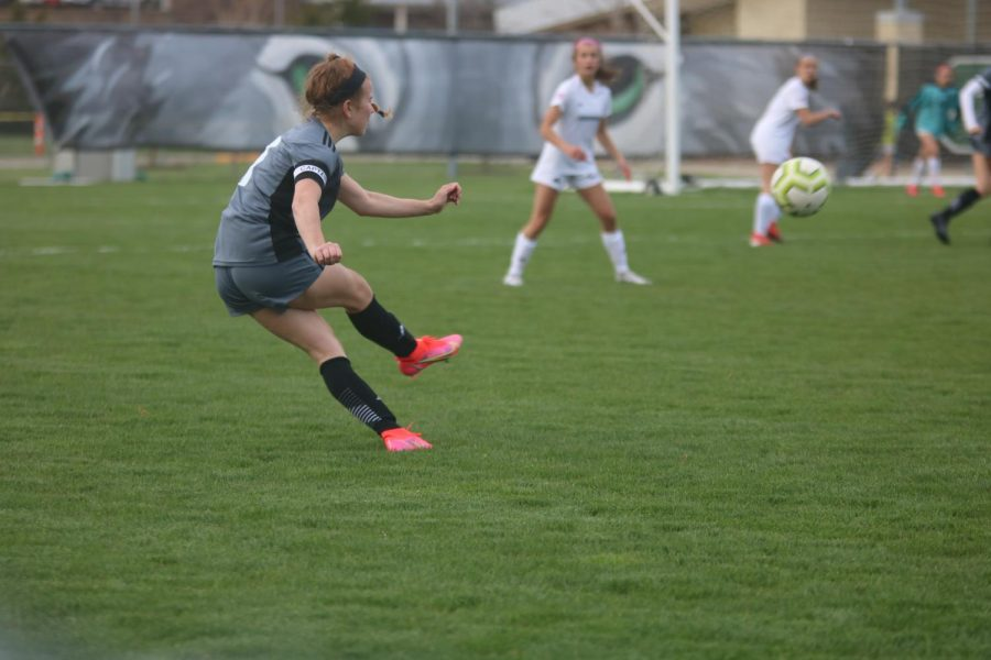 Ashley Lamfers kicks the ball on Tuesday's game.