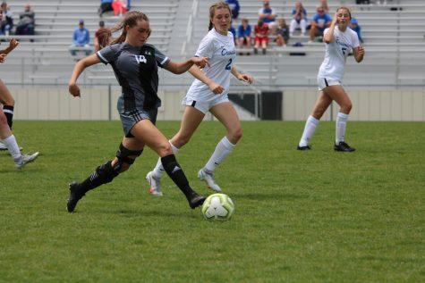 Senior Carlin Blake running towards the goal.