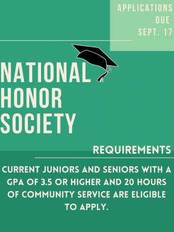 National Honor Society Applications Due Sept. 17